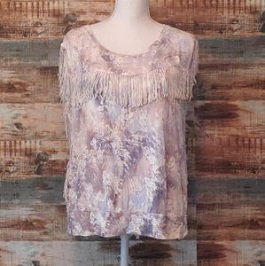 Jessica Simpson fringe blouse L